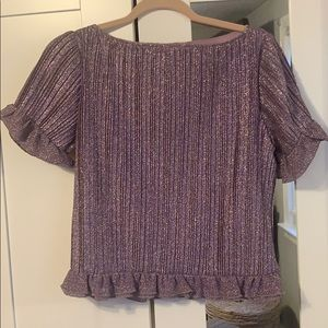H & M metallic purple pleated short sleeve top